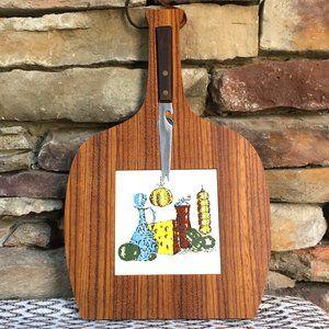 Vintage Cheese Board Wood Tile Trivet Charcuterie